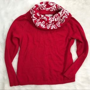 CJ Banks Red Holiday Cowlneck Sweater NWT